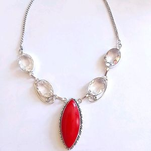 Itallian Red Coral & Topaz Choker Necklace